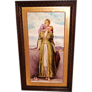 "Breathtaking 19th Century  LARGE 21"" Hand Painted Porcelain Plaque ~ Depicting the Love o"
