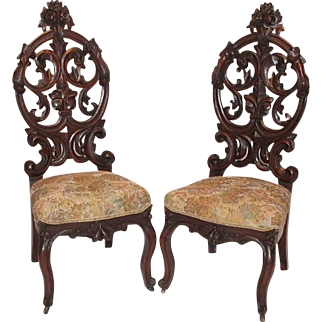Museum Quality! ~ 1850's American Rococo Figural Walnut Parlor Chairs~ Outstanding Pierced HAND CARVING ~ Roses and Faces ~ Wonderful Collector Pieces