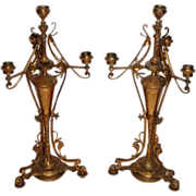 WOW!!  Outstanding Pair of Renaissance Revival Aesthetic Brass Candelabras ~Wonderful Detail ~