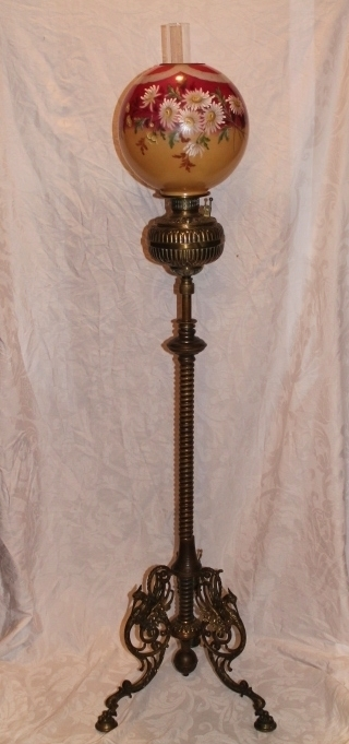 Wonderful Antique Figural Brass Piano Floor Lamp