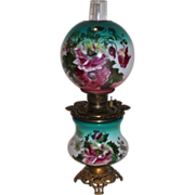 BEAUTIFUL Gone with the Wind Kerosene Banquet Lamp ~Masterpiece Breathtaking BEAUTY WITH HAND PAINTED Poppy Flowers~ Outstanding Fancy Ornate Font Spill Ring and Base~ Original Condition ~Original Parts