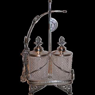 SALE RARE Double Aesthetic Pickle Castor~ Circa 1890's~Quadruple Silver Plate Frame ~ Great Original Condition ~ Makes an Amazing Candy Jar!!