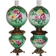 RARE PAIR of HAND PAINTED Gone with the Wind Oil Parlor Lamps ~Masterpiece Breathtaking HAND P