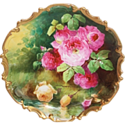 """OUTSTANDING  Coronet LIMOGES French Tea Roses ANTIQUE PLAQUE ~ Listed Artist """"DUVAL"""" ~ ..."""