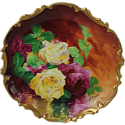 """OUTSTANDING Coronet LIMOGES French Tea Roses ANTIQUE PLAQUE ~ Listed Artist """"Bronssillon"""""""