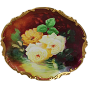 Stunning Antique Hand Painted Limoges Wall Plaque Charger ~ Breathtaking ROSES ~ Museum Qualit