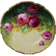 """WOW!! OUTSTANDING JPL LIMOGES French Tea Roses ANTIQUE 9 3/4"""" Dinner Plate ~ Listed ..."""
