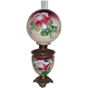 Museum Quality ~ Gone with the Wind Oil Lamp ~Fancy FONT RING ~Masterpiece Breathtaking BEAUTY WITH HAND PAINTED ROSES~ Outstanding Fancy Ornate Font Spill Ring and Base~ Original Condition ~Original Parts ~ Master Artistry