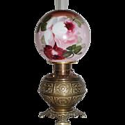 RARE  Meridian Banquet Oil Lamp ~Hand Painted Shade with Roses~ RAREl Mantel or Bracket Shelf Size  ~ Original Condition ~Original Parts