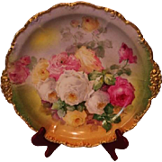 """Magnificent Antique Limoges France 14"""" Large Charger Tray~ Breathtaking Hand Painted Roses ~"""