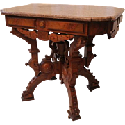 American Neo-Grec Renaissance Revival Carved and Burled Walnut Side Table, 1870's, probably ma