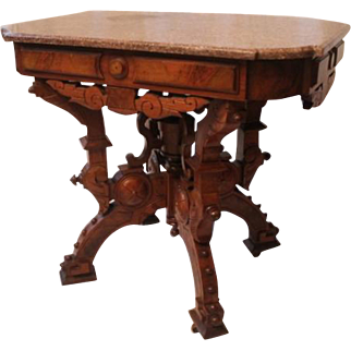 American Neo-Grec Renaissance Revival Carved and Burled Walnut Side Table, 1870's, probably made in Philadelphia