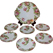 "Beautiful 7 Piece ""Louise"" Series Porcelain Desert Set~ Cake Plate and Six Matching"