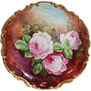 """OUTSTANDING Coronet 11 1/2"""" LIMOGES French Tea Roses ANTIQUE Wall PLAQUE ~ Artist Signed"""