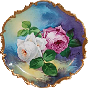 """SOLD OUTSTANDING Coronet LIMOGES French Tea Roses ANTIQUE PLAQUE ~ Listed Artist """"Bronssi"""