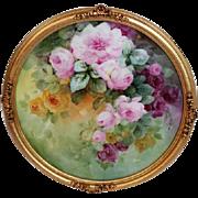 """Breathtaking LARGE 15"""" Framed Antique T&V HAND PAINTED ROSES Porcelain Charger Plaque ..."""