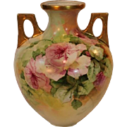 Breathtaking LARGE Porcelain VASE with HAND PAINTED ROSES ~ Masterpiece Stunning Still Life Pa