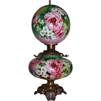 100% Original OUTSTANDING LARGE Jumbo Gone with the Wind Banquet or Parlor Oil Lamp ~Masterpiece Breathtaking BEAUTY WITH ROSES ~ Fancy Ornate Handled Spill Ring and RARE Base