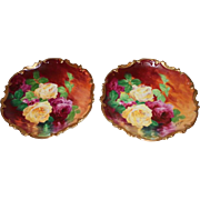"OUTSTANDING PAIR of Coronet LIMOGES French Tea Roses ANTIQUE PLAQUES ~ Listed Artist ""Bronssillon""~ Completely Hand Painted Originals ~ Breathtaking ROSES ~ Museum Quality Masterpieces Still Life Paintings"