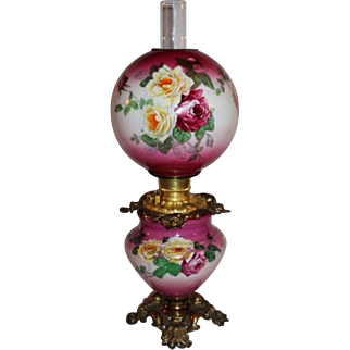 100% Original  Gone with the Wind Banquet or Parlor Oil Lamp ~Masterpiece Breathtaking BEAUTY WITH ROSES
