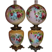 Wonderful PAIR of HAND PAINTED HUGE JUMBO Gone with the Wind Oil Parlor Lamps ~Masterpiece Bre