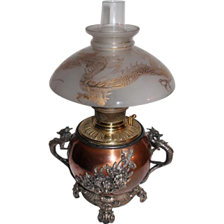 VERY RARE EXCEPTIONAL B&H (Bradley Hubbard) Aesthetic Dragon Griffin Banquet Lamp ~RARE Matching 1/2 Shade with Applied  Enameled Dragon or Griffin