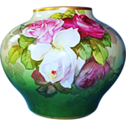 VERY RARE HUGE Antique William Guerin Limoges Vase with Roses - Excellent Condition - ...