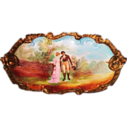 RARE Hand Painted Large Limoges Platter with Romantic Couple