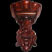 Renaissance Revival Carved Walnut Wall Bracket Shelf  -Jelliff Style Lady Bust