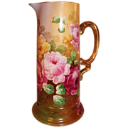 Truly Magnificent Antique Limoges France Large Tankard Pitcher~ Breathtaking Hand Painted Rose