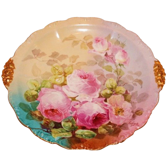 """Truly Magnificent Antique Limoges France 13 1/2"""" LARGE Charger Tray ~ Breathtaking Hand Painted Roses ~ Museum Quality ~ Masterpiece Painting ~ Signed by the Artist """"LeFort"""" ~ Superb Artistry Jean Pouyat JPL Circa 1890 – 1932."""