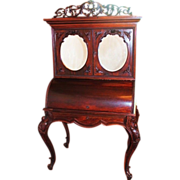 1860's American Rococo Rosewood Cylinder Desk ~  Bookcase Top  ~ Very Nice Smaller Size  ~ Attributed to J & J.W Meeks  ~ Would Make Outstanding Jewelry Cabinet!