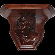 Carved Walnut Renaissance Revival Shakespeare Clock Shelf
