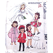 Betsy McCall Doll Clothes Pattern, McCall's 2457 Vintage 1960 Size 8-1/2 Inch, Complete, Mos
