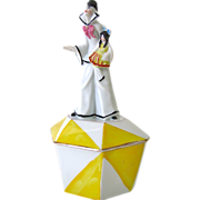 German Art Deco Porcelain Powder Box Sailor Holding a Doll