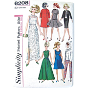 Tammy Doll Clothes Pattern Simplicity 6208 Uncut and Factory Folded Vintage 1965