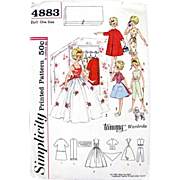 Tammy Doll Wardrobe Pattern Simplicity 4883 Complete Vintage 1962