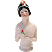 Porcelain Half Doll Flapper with Plume Made In Germany
