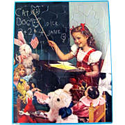 SOLD Walzer Frame Tray Puzzle Little Girl with Dolls and Toys Vintage 1940s