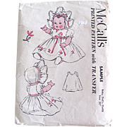 Baby Doll's Outfit Pattern Vintage 1951 McCall's Sample Pattern Size 20 Inch