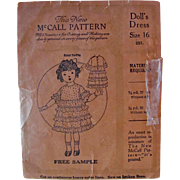 Doll's Dress Pattern Vintage 1920s McCall Sample Pattern Complete Size 16 Inch