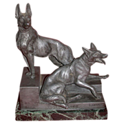 "REDUCED L. Carvin Bronze Sculpture,  German Shepherds (Alsatians) - ""Bonne Garde"""