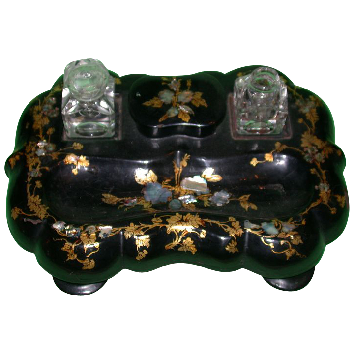 19th Century Inkwell with Mother of Pearl Inlay