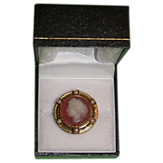 REDUCED Victorian Hardstone Cameo in 15kt Gold Bezel Pin