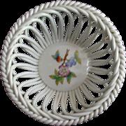 REDUCED Herend Handpainted Openwork (Reticulated) Basket Bowl