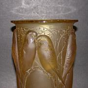 SOLD Museum Quality Rene Lalique Ceylan Vase. Yellow Amber