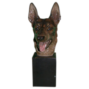 REDUCED Extremely Rare Vintage Signed Rosenthal German Shepherd Sculpture, Selb, Germany