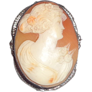 REDUCED Antique Cameo Of A Woman In Rich Cream Relief, With Shading For The Flower In Her Hair