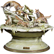 "Borsato - ""Foxes Lair"" - Multi Figural Animal Group, Dramatic Realism; Signed, Vintage"