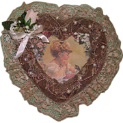 REDUCED Lovely Vintage Picture Frame, With Lace, Flowers, and Love~!